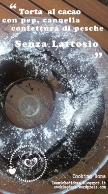 Torta al cacao con pepe, cannella e confettura di pesche