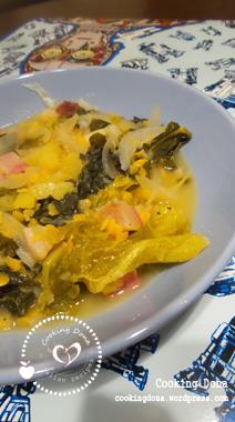 Minestrone di verza e cavolo nero con pancetta al curry